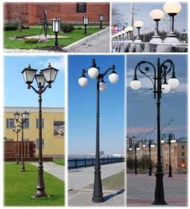 Различные виды уличных светильников