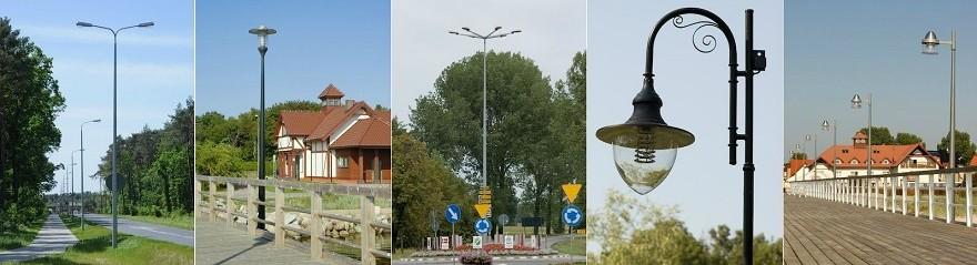 Различные виды уличных столбов освещения