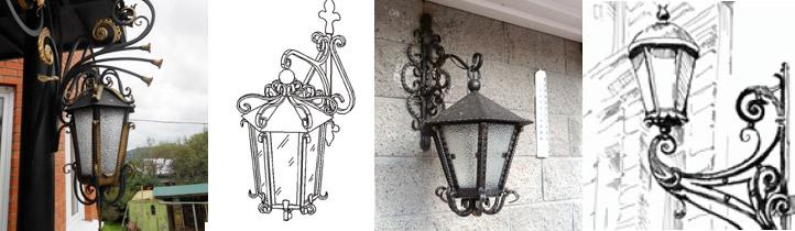 Кованные модели настенных светильников