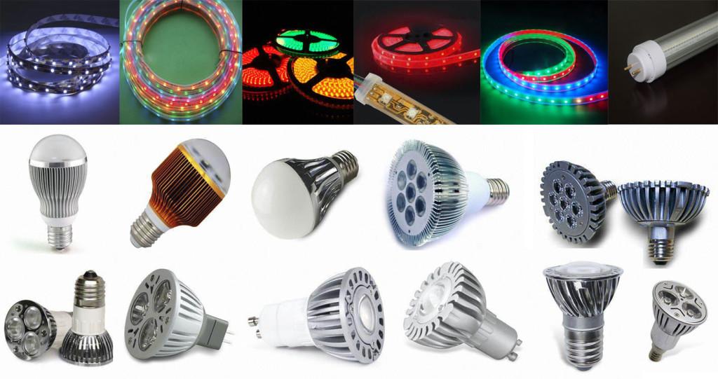 Светодиодные лампы различных видов