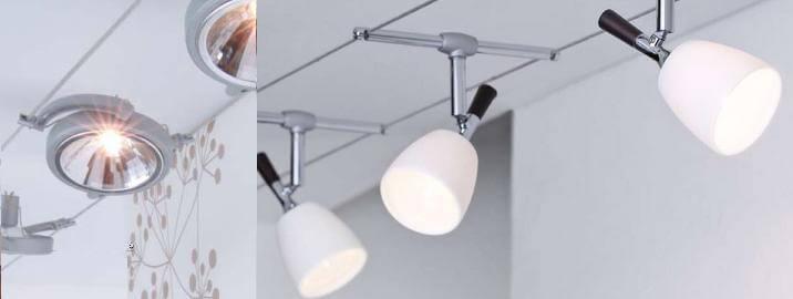 Использование трекенговых светильников на потолке и стене