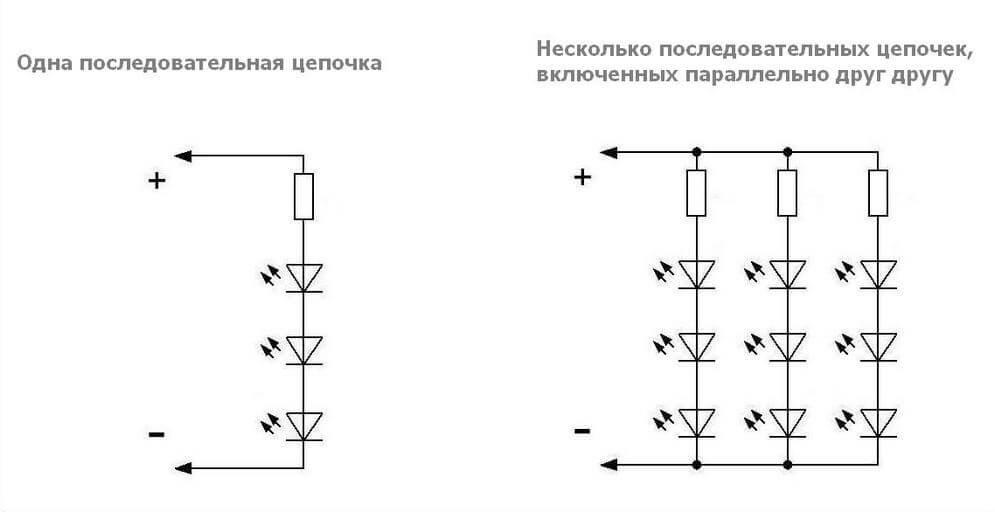 Схема последовательности подключения диодов на лампочке