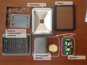 Конструкция диодного прожектора