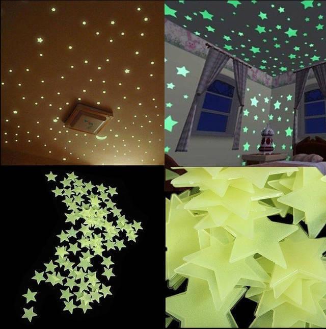 Наклейки в виде звезд на потолок