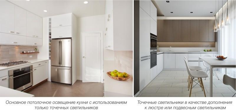 Основное потолочное освещение на кухне