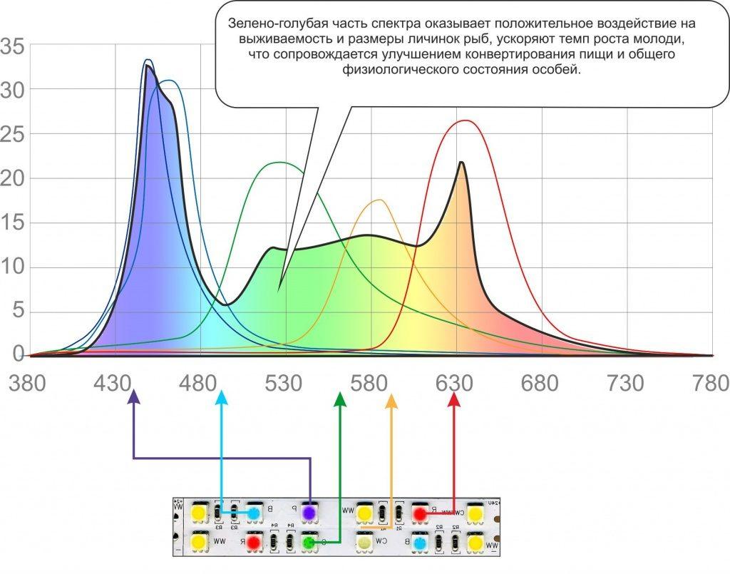 Спектр светодиодного освещения