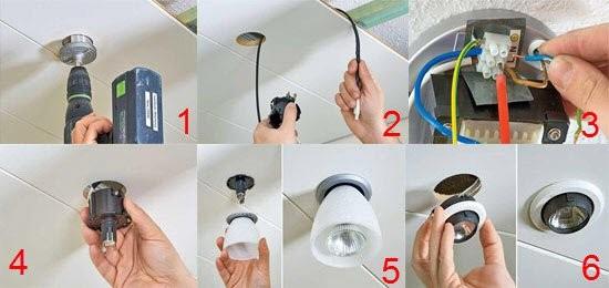 Этапы монтажа встроенного светильника в потолок ГКЛ