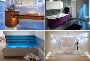 Различные варианты освещения ванной комнаты