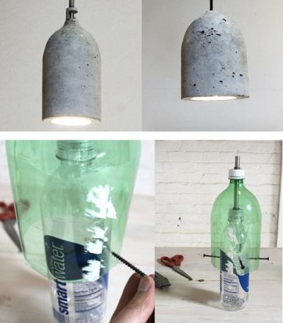Светильник из цементных остатков и пластиковой бутылки